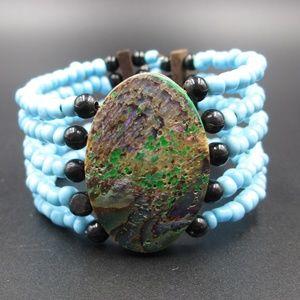 Jewelry - Vintage Stunning Blue Beaded Bracelet